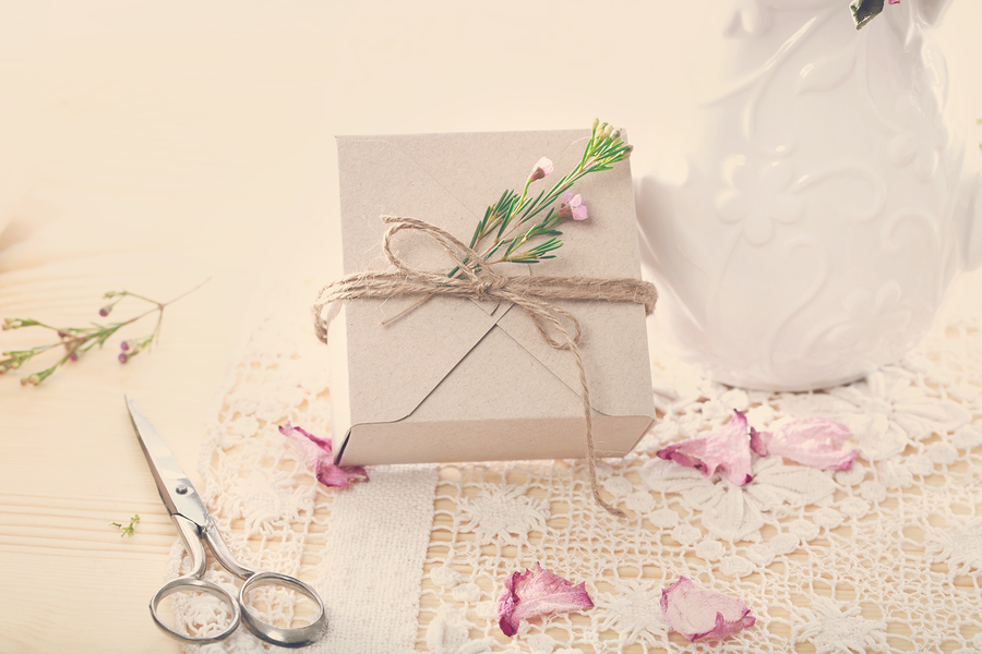 Hand crafted present box with flower petals
