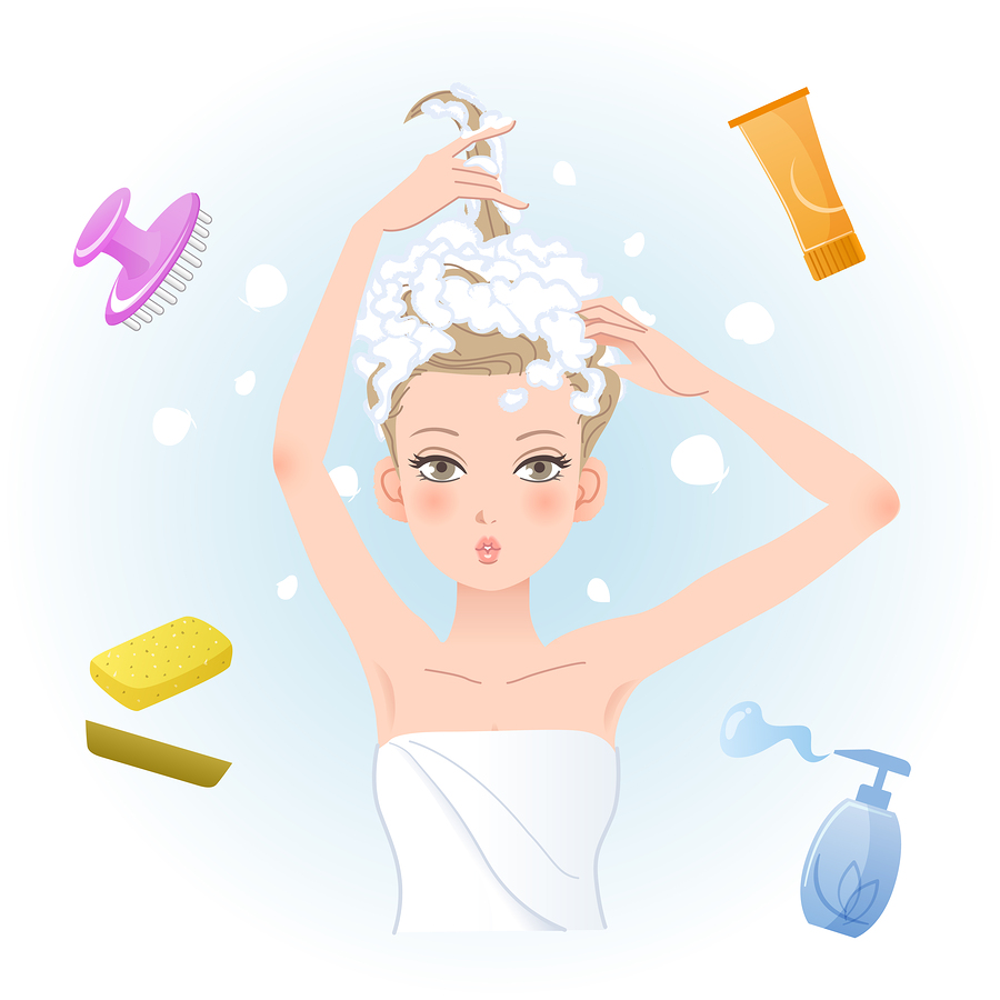 Young woman soaping her hair with body/hair care products. Funny expression.File contains Gradients Blending tool Transparency.