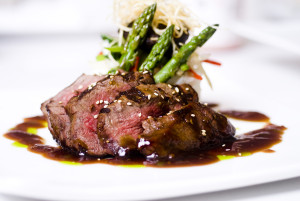 A gourmet fillet mignon steak at five star restaurant.