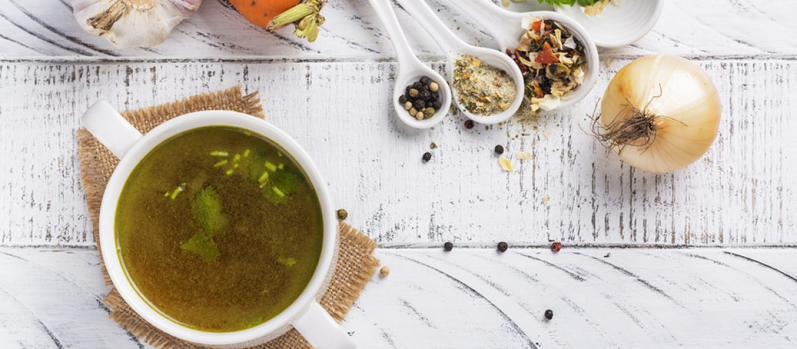 Bone broth soup made from beef, natural source of collagen